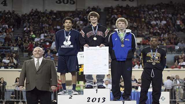 Champion: Dalton Duffield, Westmoore. Second place: Jordan Prince, Edmond North. Third place: Garrett Rowe, Choctaw. Fourth place: Kennedy Monday, Stillwater.