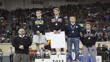 Champion: Luke Wolfenberger. Second place: Hayden Hansen, Norman North. Third place: Josh Breece, Edmond North. Fourth place: Keaton Randall, Westmoore.