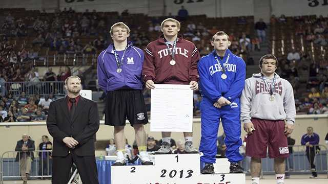 Champion: Zach Beard, Tuttle. Second place: Luke May, Mannford. Third place: Bryce Folkerts, Glenpool. Fourth place: Matt Hoffman, Weatherford.