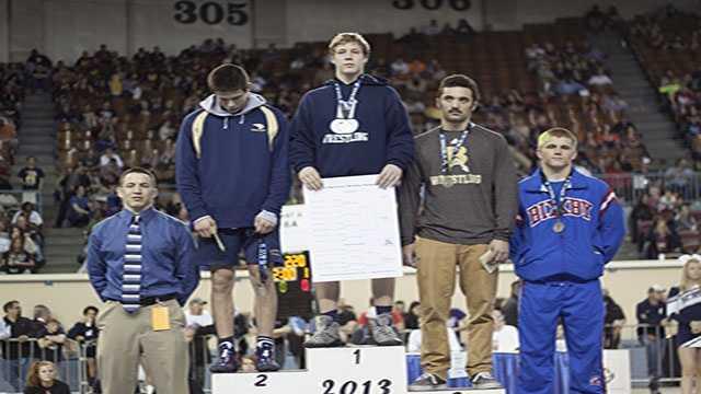 Champion: Derek White, Edmond North. Second place: Nathan Merek, Southmoore. Third place: Brock Warren, Broken Arrow. Fourth place: Reid Rodich, Bixby.