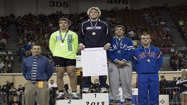 Champion: Lance Dixon, Edmond North. Second place: Derek Sivertsen, Moore. Third place: Kristian Mendez, Sapulpa. Fourth place: Hunter Dalton, Bixby.