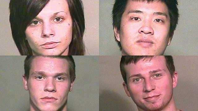 Top left: Jordan Nicole Ash, 21. Top right: Duke Tran, 21. Lower left: Gage M. Browning, 20. Lower right: Maksim D. Slobodkin, 23,