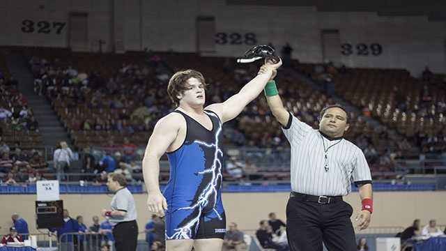 Austing Loomis of Deer Creek won third place in the Class 5A 220 lbs. consolation finals.