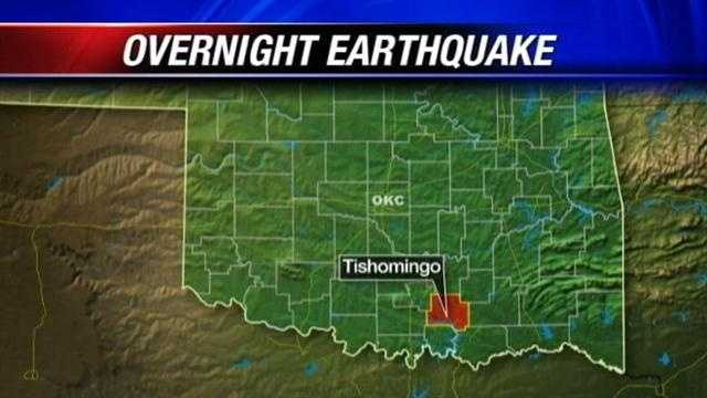 Tishomingo had an earthquake overnight. It happened at 4:25am. Authorities say it was a three point five. That's strong enough to feel.