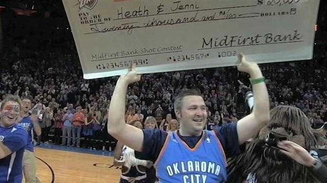 "A half-time miracle. A local man ""swished"" a half-court shot during the Thunder game on Tuesday. Heath Kufahl won 20-thousand dollars. It could not have come at a better time, his wife is battling cancer."