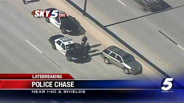 Oklahoma City police say a stolen car chase has ended on Interstate 40, according to police.