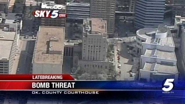 Sky5 flies above the scene of the Oklahoma County Courthouse. Somebody called in a bomb threat to the courthouse on Thursday morning.