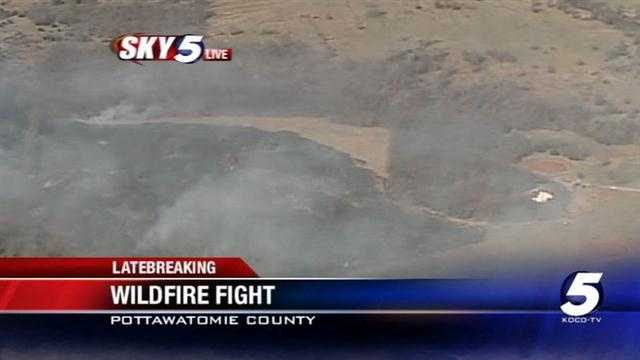 Sky 5 is over the scene of a Pottawatomie County grass fire Friday morning.