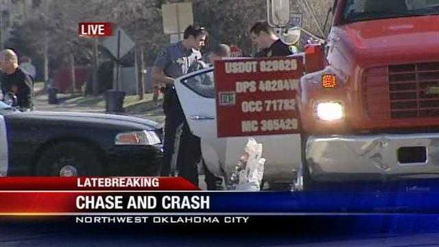 KOCO's Patti Moon is at the scene of a crash in northwest Oklahoma City that authorities said started with a pursuit.