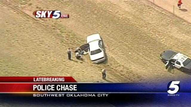 At least one person is in custody after a pursuit that ended in southwest Oklahoma City.