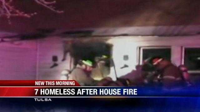 7 homeless after house catches fire