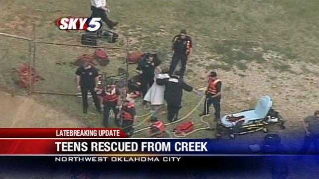 Teens rescued from metro creek