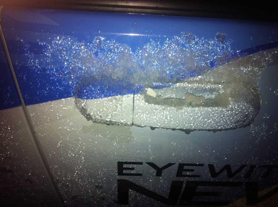 Hail and sleet feel in northwestern Oklahoma on Tuesday.
