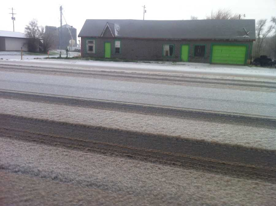 The roads in northwestern Oklahoma were covered with sleet and ice after storms moved through. This photo was taken in Fort Supply.