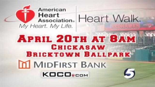Join KOCO morning anchors Maggie Stokes and Wendell Edwards and meteorologist Brad Sowder for the American Heart Association's Heart Walk at 8 a.m. on April 20.