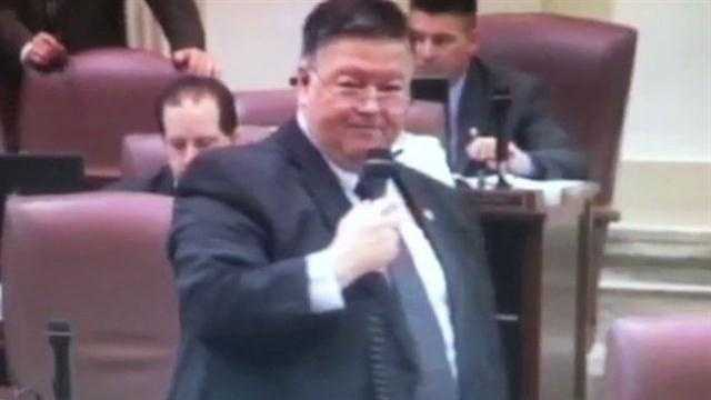 State Rep. Dennis Johnson makes a comment some find offensive during a speech about a bill affecting small business.