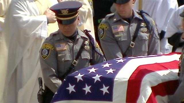 Oklahoma City police said goodbye to fallen officer Chad Peery.  Peery died Monday after being hurt in a car crash on Sunday.
