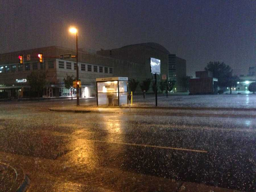 KOCO producer Lizzy Valles snapped this photo from the Oklahoma County Municipal Court as hail fell Monday night.