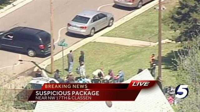 Authorities were called to Classen SAS on Wednesday afternoon after a suspicious package was found in a trash bin at the school.