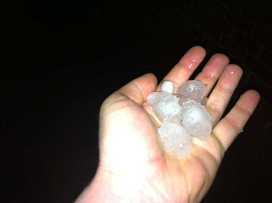 KOCO weekend morning anchor Dan Thomas sent us these photos of hail from Northwest 115th and County Line Road.