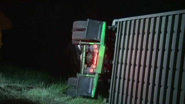 A wild wreck shut down the Muskogee Turnpike near Tulsa. Two big rigs crashed early this morning. One of the semis was carrying cattle. The cows had to be rounded up but no one was seriously hurt and the road is back open.
