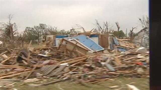 Video from a bus tour the day after a twister moved through Hood County, Texas, killing at least six and injuring more than 100 people.