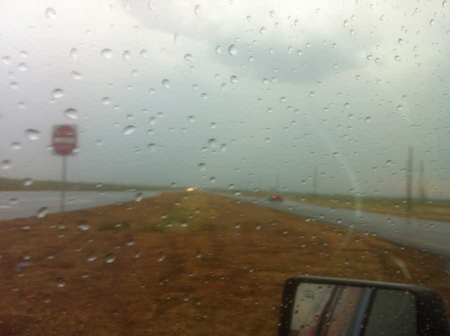 KOCO 5 News reporter Kim Passoth snapped this photo of a rain shower near Hobart.