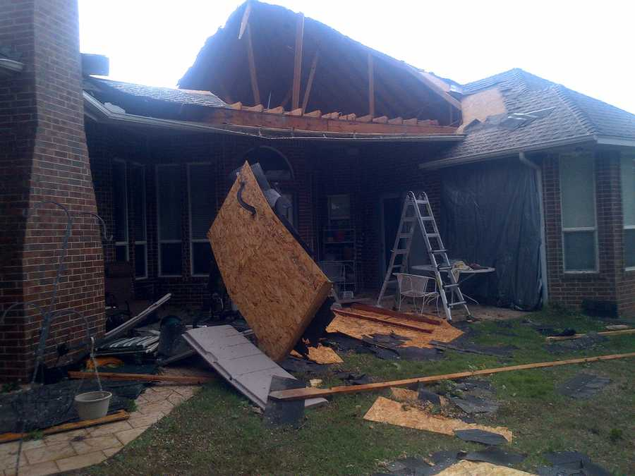 Home damaged in the Thornbrook neighborhood