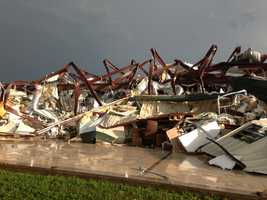Building destroyed in Carney