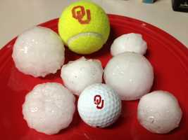 Large hail in Norman at NW 36th and Tecumseh.