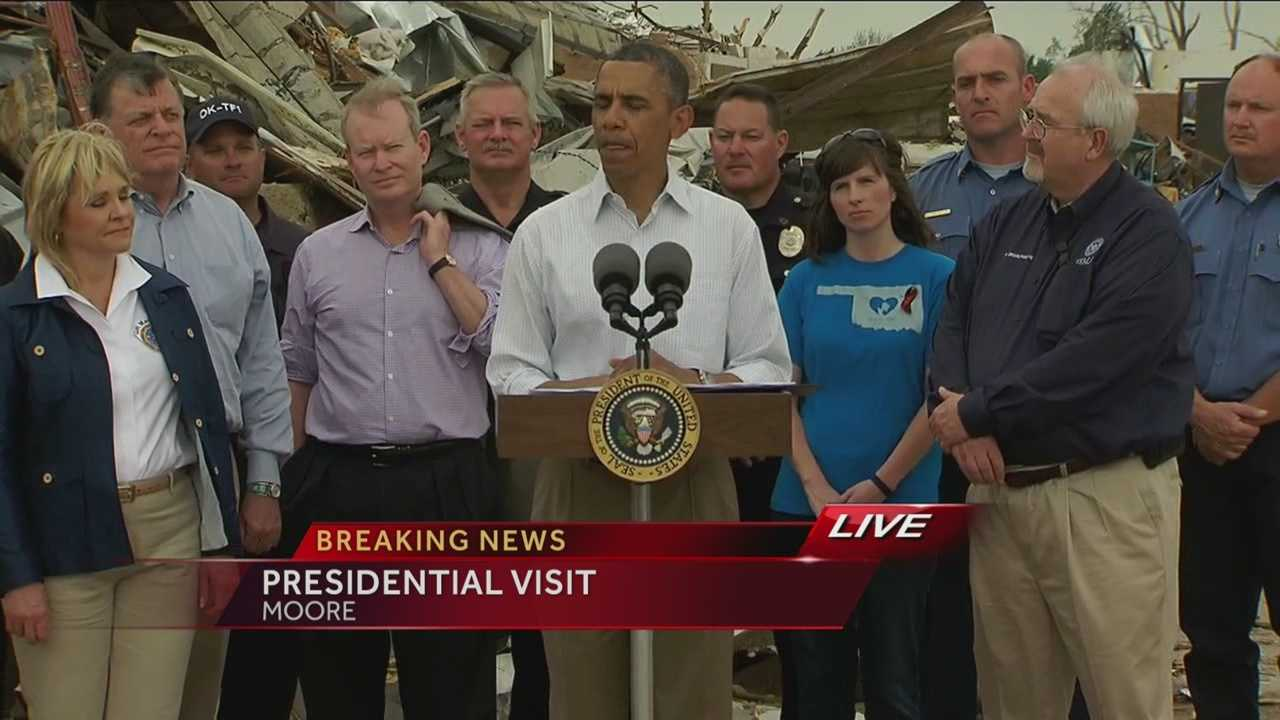 Pres. Barack Obama spoke Sunday near the former site of the Plaza Towers Elementary school in Moore.