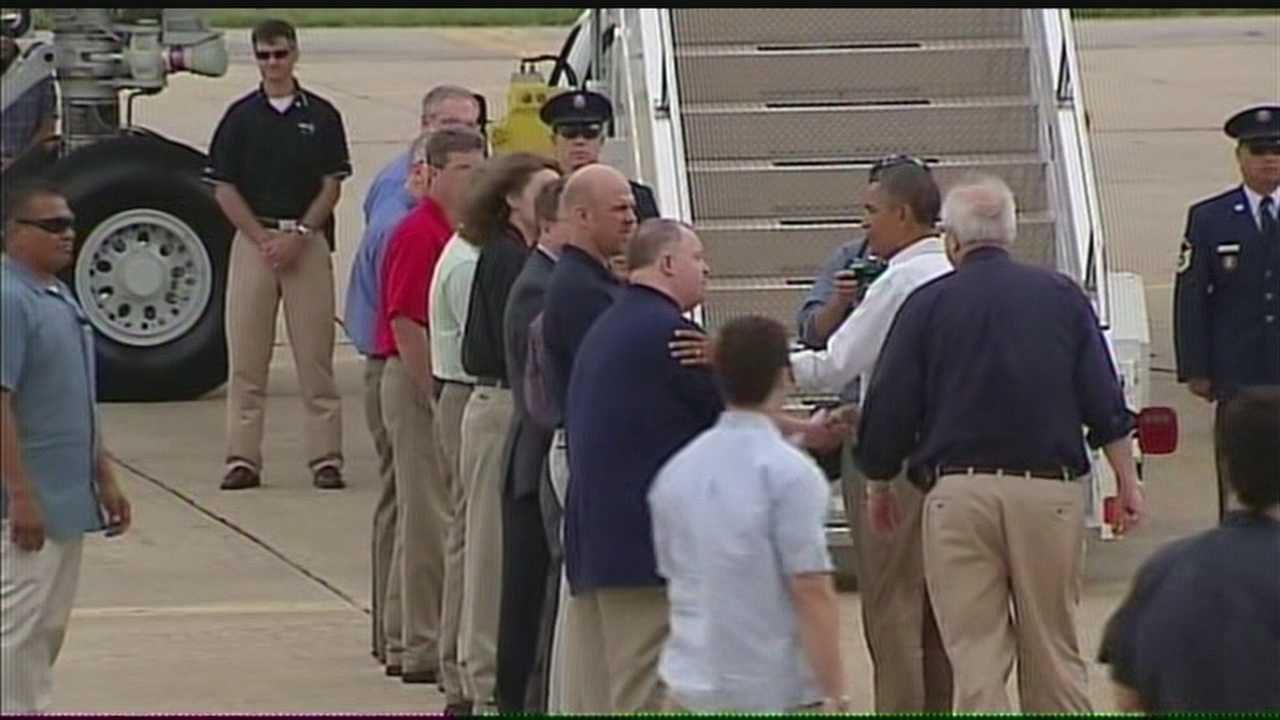 Forecasters meet president Obama during his tour of Moore.