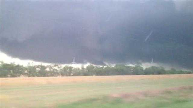 KOCO 5 News reporter Erielle Reshef shot this image Friday night from near the town of Minco.