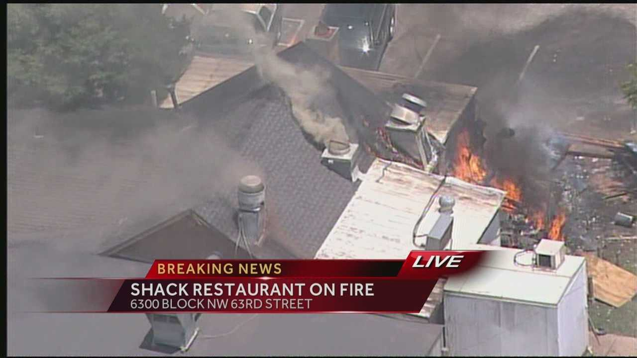 Oklahoma City firefighters are battling a blaze on the northwest side of the city, a fire at The Shack.