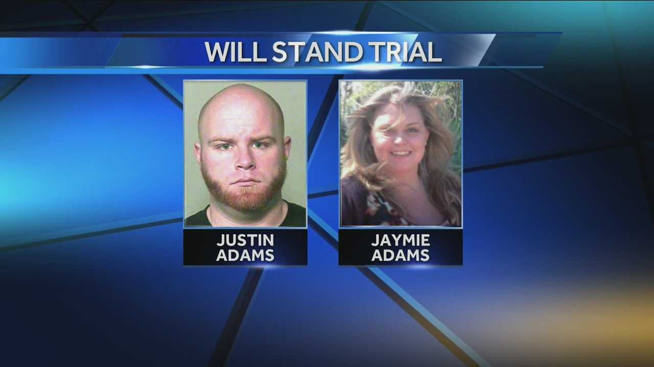 Justin Adams will stand trial for manslaughter in wife's death