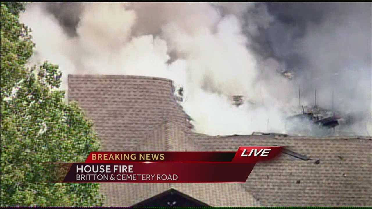 Firefighters battled a house fire near Britton and Cemetery roads on the west side of Oklahoma City.