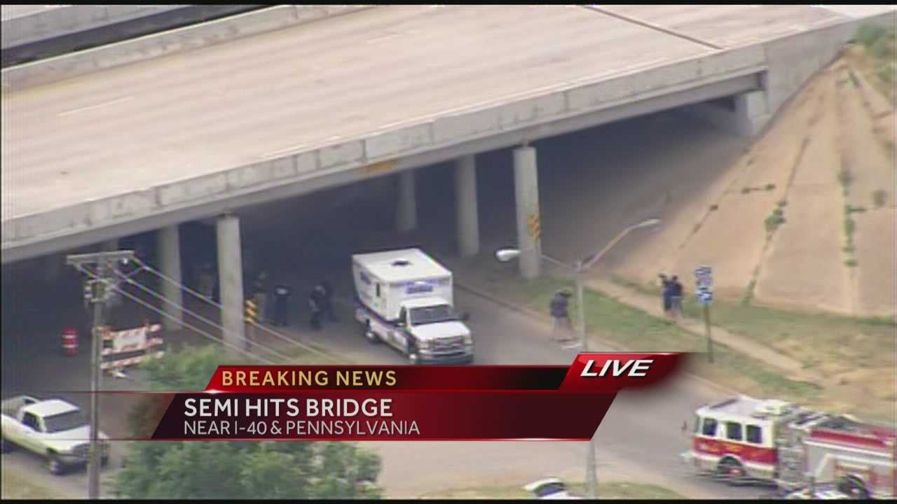 Crews are investigating an accident involving a semi-truck at I-40 and Penn in Oklahoma City. A bridge was struck, and investigators are working to determine whether it was damaged.