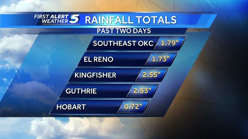 Rainfall totals as of 10 a.m. Monday