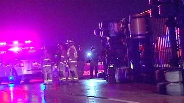 A semi rollover shut down part of a metro highway early this morning.  Troopers say the driver lost control near the I-44 westbound to I-44 southbound overpass.  The truck was carrying chicken nuggets.