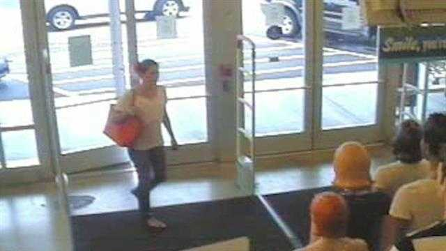 Edmond Police say a woman camped out at an Old Navy for hours and then stole from the store after it closed. Cameras caught the woman inside the store.