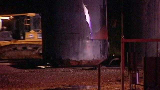 A lightning strike hit a tank battery late Monday night in SW Oklahoma City. After the strike oil started leaking.