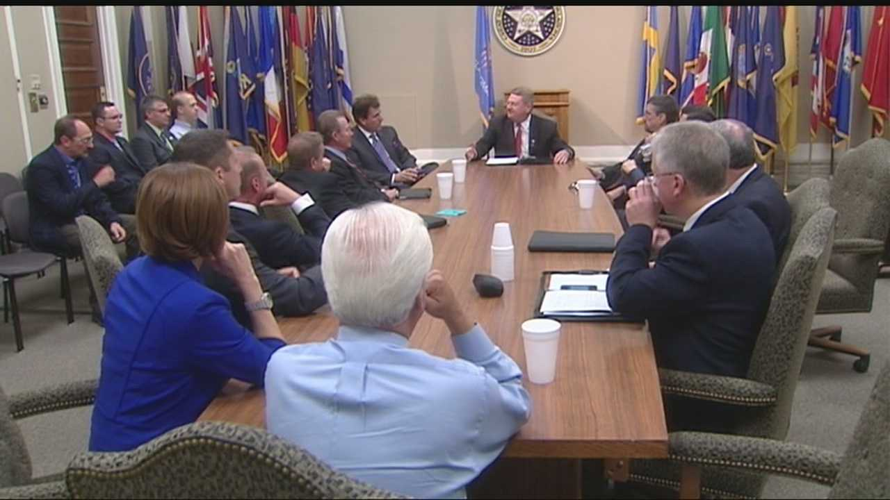 KOCO 5 News chief meteorologist Damon Lane and meteorologist Daniel Dozier were members of a special meeting at the capitol Thursday to talk about improving communication during severe weather.