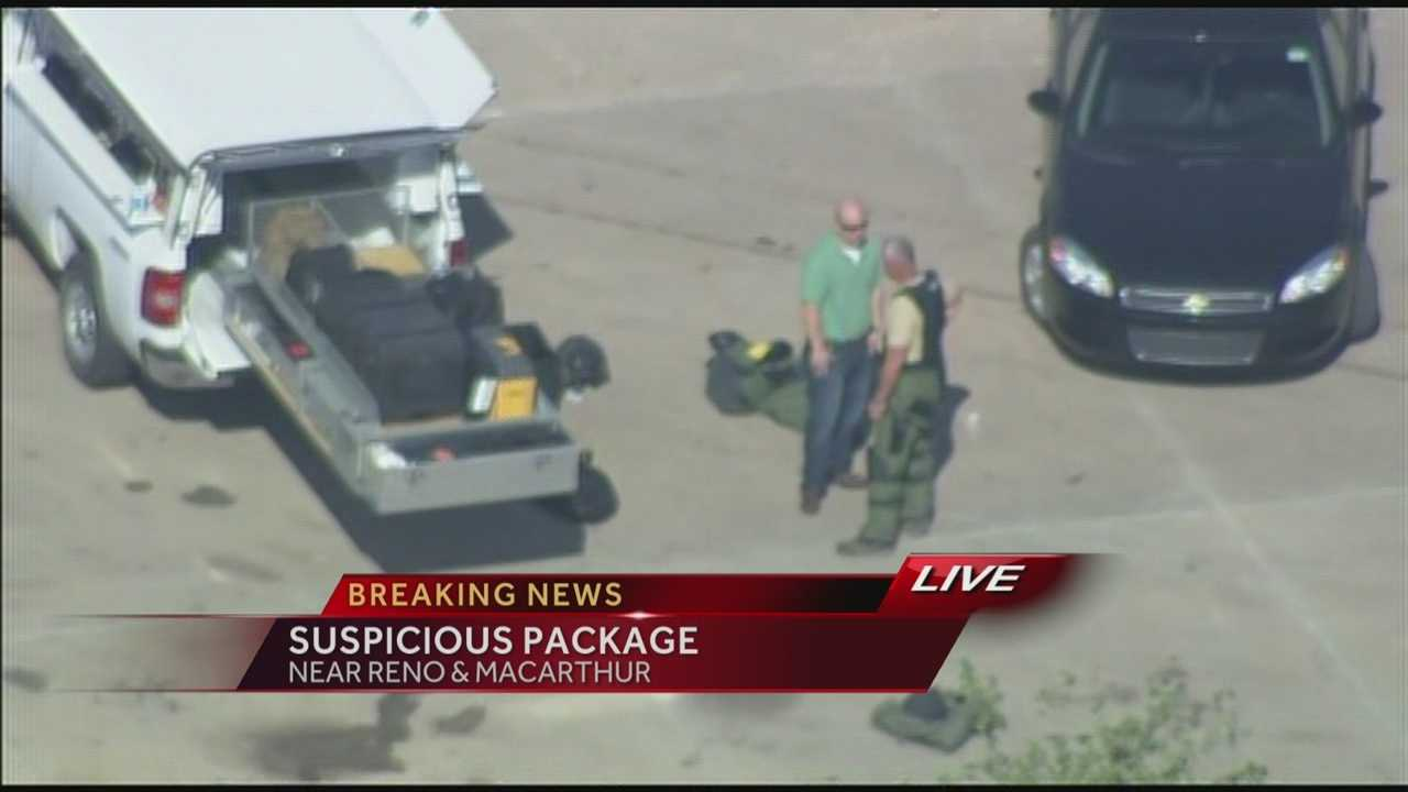 Oklahoma City police are investigating a suspicious package, according to Sgt. Jennifer Wardlow. The bomb squad is at the scene at a Walmart in the 6100 block of Reno Avenue. The package was discovered in the Garden Center.