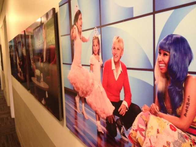 The hallways are lined with huge photos of Ellen and her famous guests.