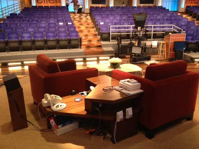 Ever wonder what was behind Ellen's chairs? Well, now you know. I see Wet Ones, Altoids & notebooks.