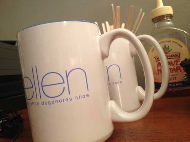 Ellen mugs for the guests.