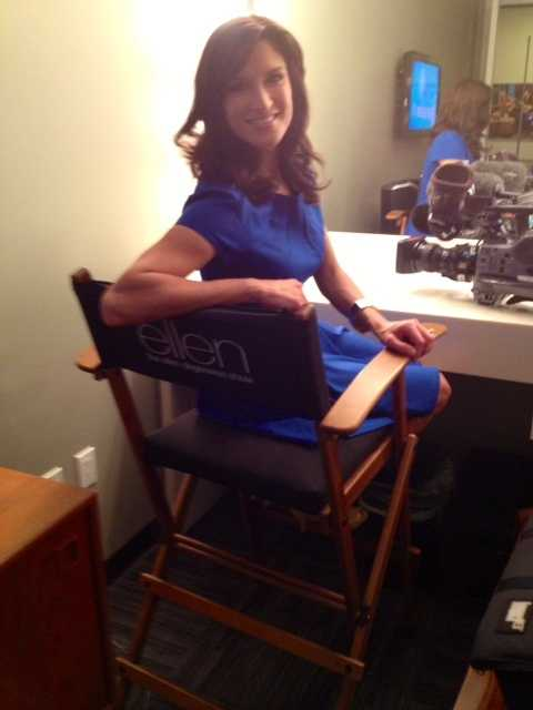 "Jessica hanging out in an ""Ellen"" director's chair."