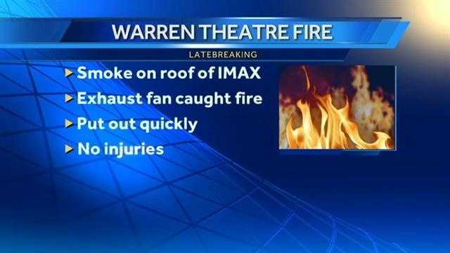 A small fire broke out on the roof of the IMAX at the Warren Theatre early Monday morning.  No one was hurt.