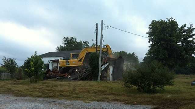 It's a bittersweet day for an Oklahoma family. Their home has been slowly washing away along the Canadian River. The home was demolished Wednesday at 7:30 a.m.