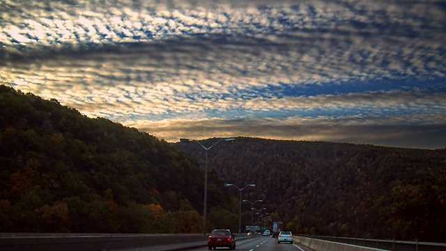 Mackerel sky: a sky dappled with rows of small white fleecy clouds, typically cirrocumulus, like the pattern on a mackerel's back.
